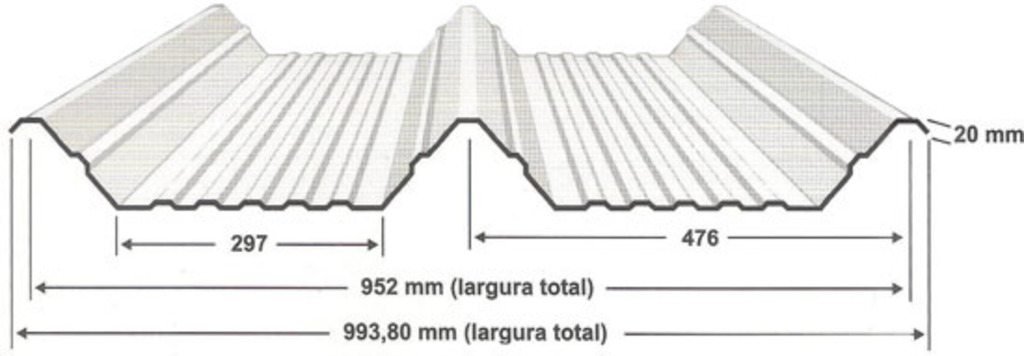 telha metálica trapezoidal 100/950