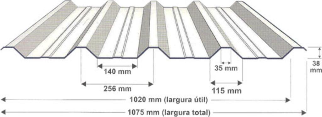 telha metálica trapezoidal 40/1020